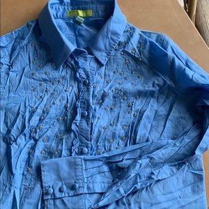 Sigrid Olsen blouse blue & silver S